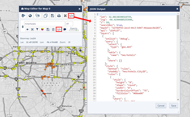 Advanced Map Editor JSON View